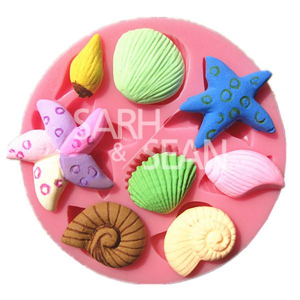 M0702 sea starfish snail conch shell fondant cake molds soap chocolate mould kitchen baking Silicone Sugar Cake Decoarion Tool(China (Mainland))