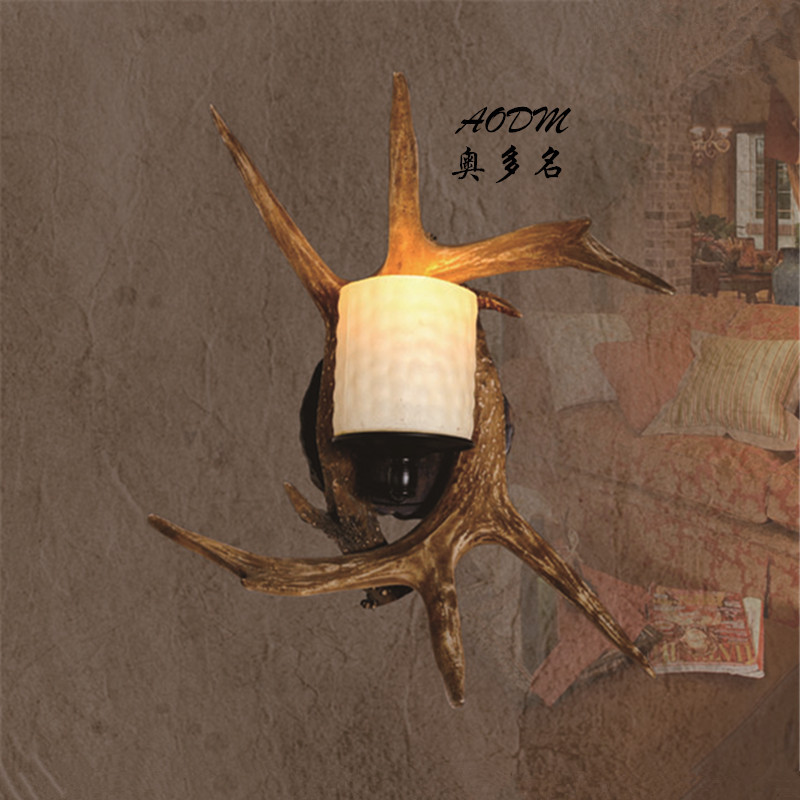 Hot new antlers wall design ideas American Continental saving lamp bedside lamp resin retro Tianyuan Guang source(China (Mainland))