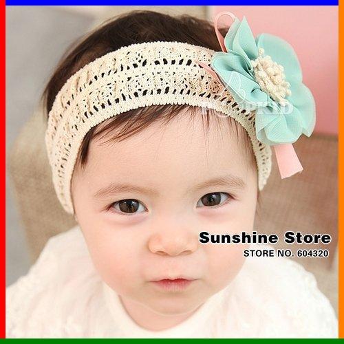 Love girl fashion store lace chiffon LOVELY baby flower hair band linen headband;turban accessory #2B2119 10 pcs/lot (3 colors)(China (Mainland))