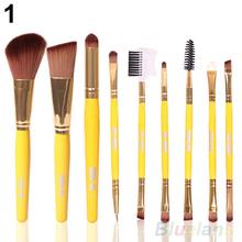 Blush Lip Makeup Eyebrow Eyeliner Brush Set Cosmetic Tool Beauty Brushes 9Pcs 3 Colors