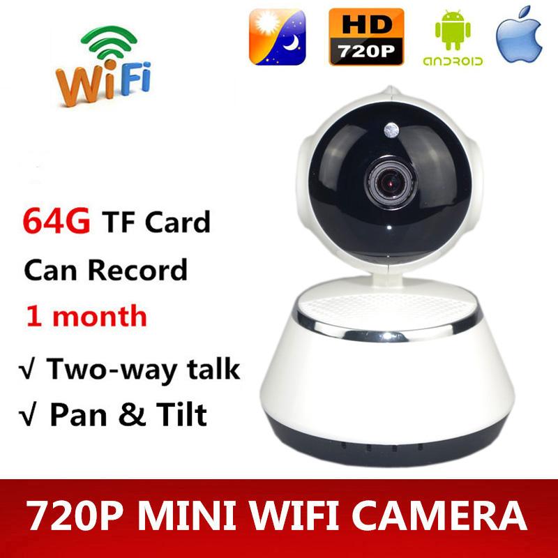 Free shipping HD 720P Mini IP/WIFI Camera Wireless IR Cut P2P Security Surveillance Camera Night Vision Robot Baby Monitor 64G(China (Mainland))