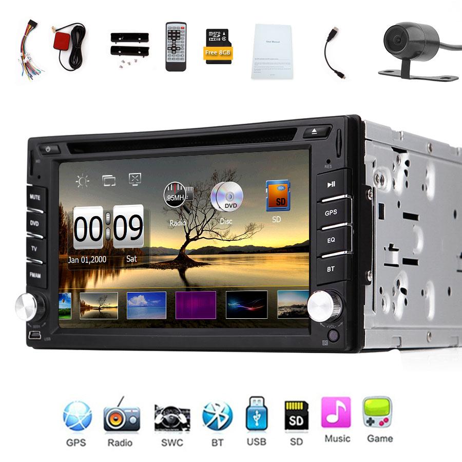 Free Camera+Map Card Car DVD Player 2 Din In Dash Car Stereo Bluetooth HD Touchscreen Car Auto radio Headunit GPS Navigation(China (Mainland))