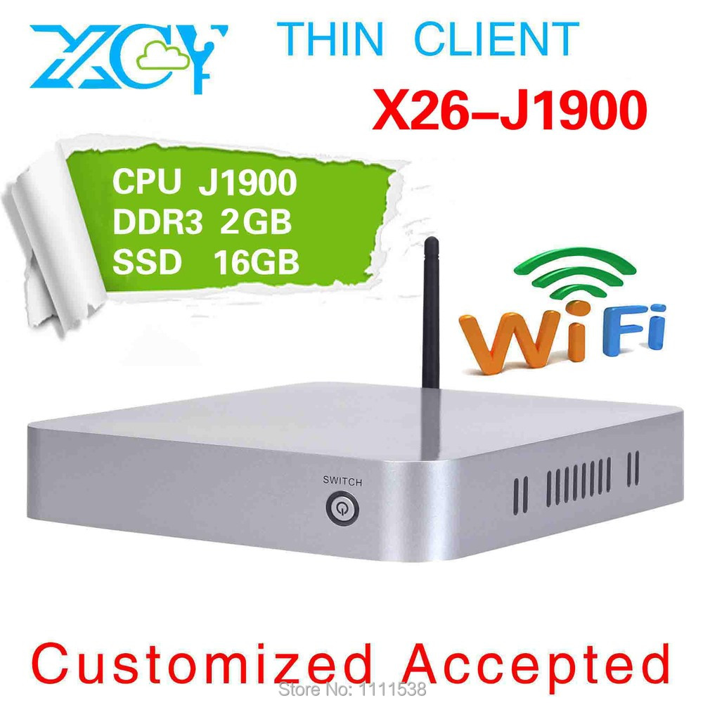 The latest product!! thin client pc station XCY X-26 desktop computer CPU J1900 one lan ports POS computer 2g ram 16g ssd(China (Mainland))