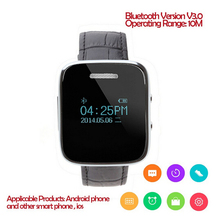 DHL Free Shipping 10Pcs/Lot, Cheap Leather Strap Vibrating Bluetooth Smart Watch 1.48″ Mono Display for Android and iOS Phones