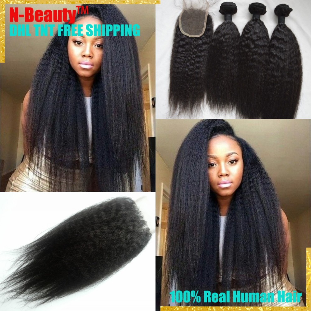8A Coarse Yaki Mongolian Virgin Hair Kinky Straight Lace Closure With Bundles Italian Yaki Hair 4Pcs/Lot 100% Human Hair Weaves