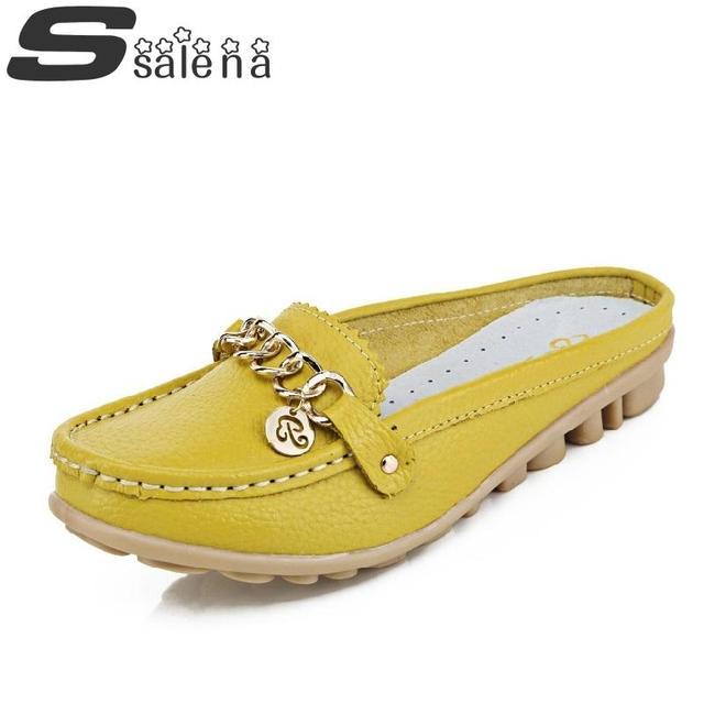Женщины удобные сандалии Женщин натуральная кожа сандалии Новое прибытие Леди loafer ...
