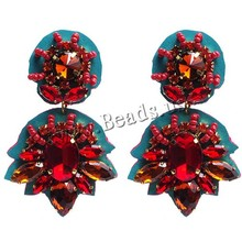 Free Shipping Crystal Japanese Glass Seed Bead Earrings Wedding Fashion Red Statement Earring seed bead earrings for women(China (Mainland))