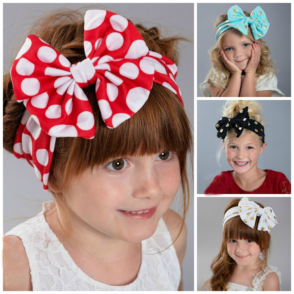 1PC Gold Polka Dots Baby Cotton Headband Girls Knotted Bow Head Wraps Summer Hair Bands Baby Headband Kids Hair Accessories(China (Mainland))