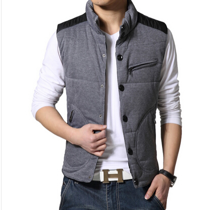 fashion 2015 men casual stand collar cotton vest coat winter waistcoat waterproof sleeveless jacket outwear - yixiaoerguo's store