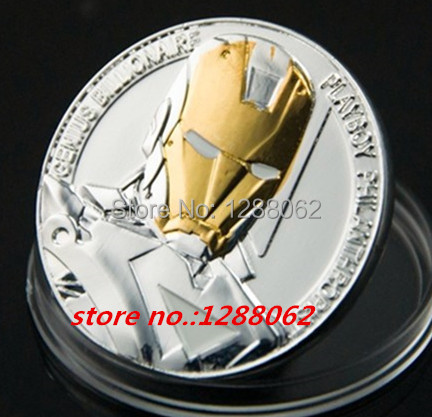 20 pcs/lot Hollywood movie The Avengers Iron Man Challenger gold and silver plated souvenir Coin gift,free shipping(China (Mainland))