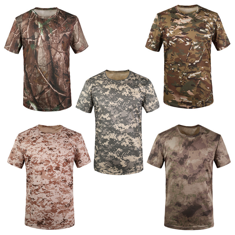 Summer Outdoors Traning Camouflage T-shirt Men Breathable Army Tactical Combat T Shirt Military Quick Drying Sport Camo Tees - Glinkin Store store