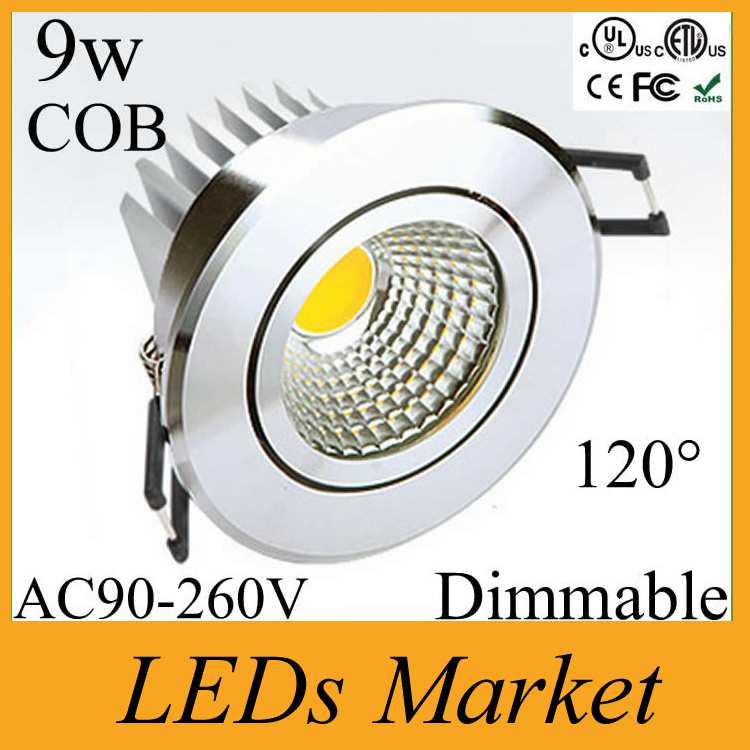 12p/lot 9w Cob Led Ceiling downlight Dimmable led recessed light Warm /Cold white Fixture Led Spot light CRI85 110-240v+ driver(China (Mainland))
