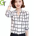 2016 New Autumn Chiffon Blouse Women Printed Plaid Shirts Chemise Femme Long Sleeve Tops Blusa Feminina