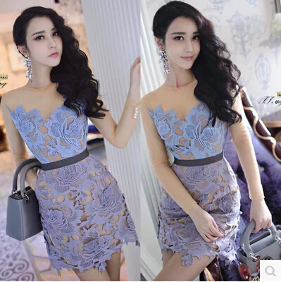 Spring 2015 new advanced custom self * portrait lace applique 3D model women clothes pearl buckle perspective sleeved dress - Shenzhen shoes development co., LTD store