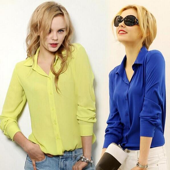 Женщины блузки прямых продаж бесплатная доставка кнопка твердые 2015 осенью новый с длинными рукавами шифон женщин тонкий одежда