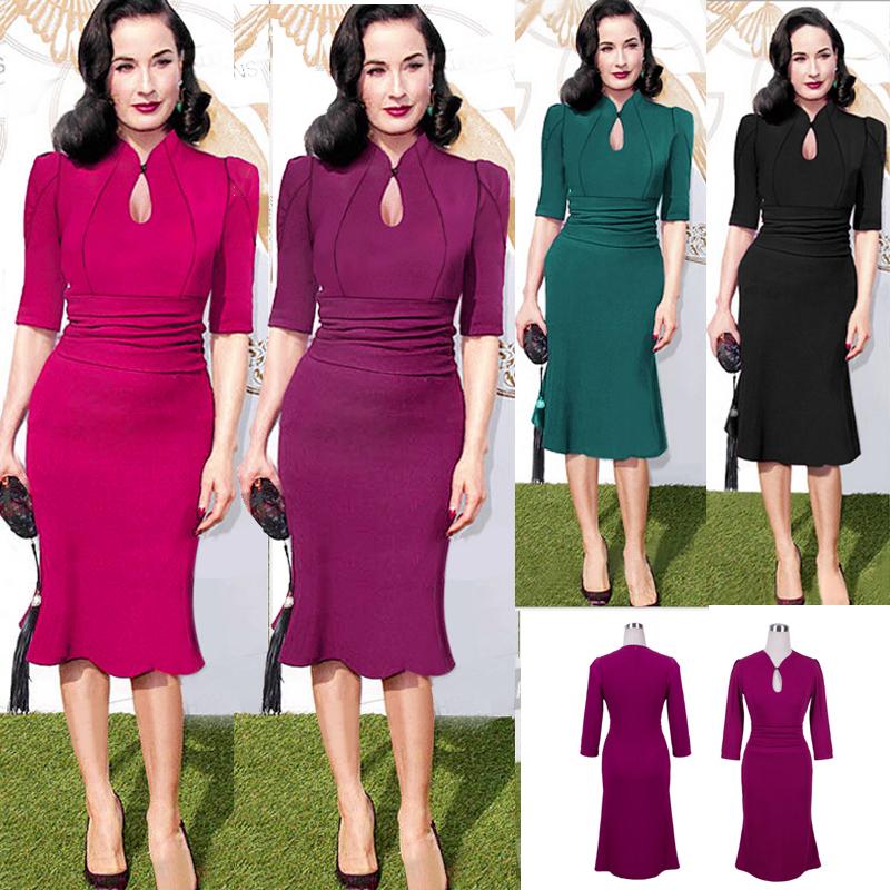 Uk standard purple womens dress 2015 midi hollow out v neck fashion party dresses elegant women big size xxl(China (Mainland))