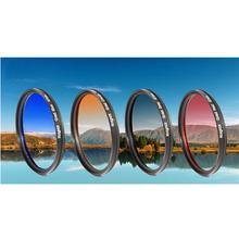 52mm Graduated  Grey Blue OrangeColor Lens Filter for Nikon D300 D7000 D5100 D3200 D3100 D3200  D5200 18-55mm KnightX