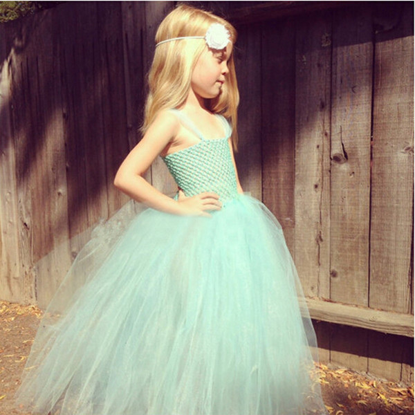 Mint green flower girl dress Tulle pageant dresses for little girls Party /Festival /Grown /Birthday/ photo props 1pc TT020(China (Mainland))