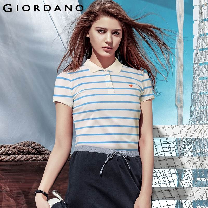 Giordano Women Polo Shirt Striped Short Sleeves Collar Ladies Casual Camisets Mujer Summer Tops Style Marca Senhora(China (Mainland))
