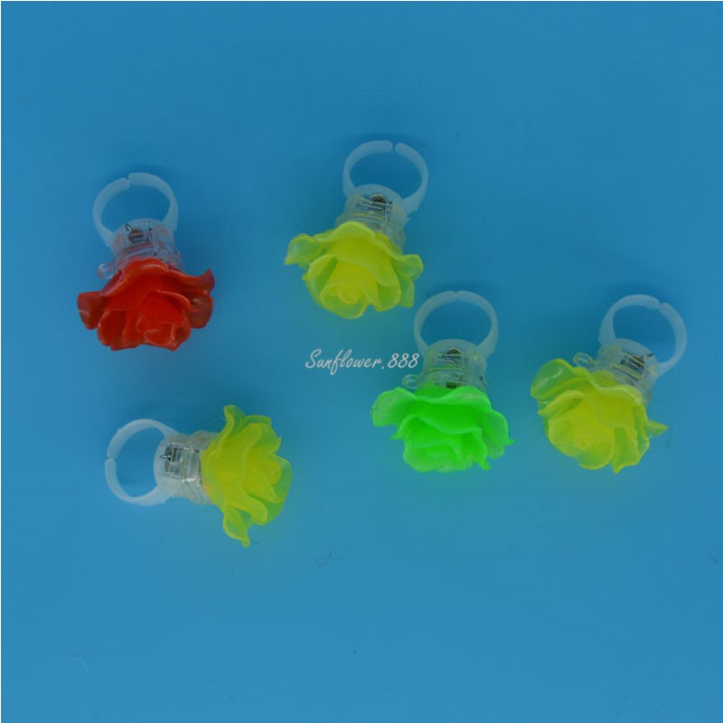 Cool Rose LED Flashing Light Ring Blinking Party Light Up Rave Glow Finger Rings Halloween(China (Mainland))