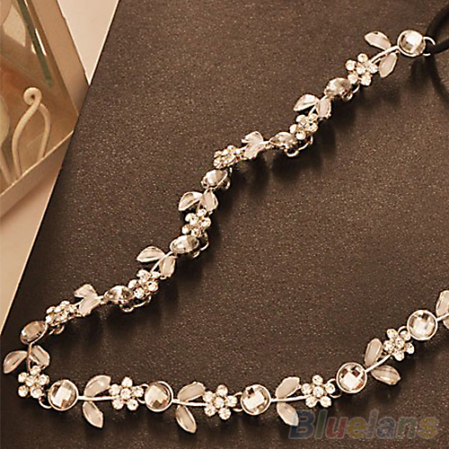 Fashion Women's Hot New Silver Crystal Rhinestone Flower Elastic Hair Band Headband Hair Accessories Free Shipping 1JG3(China (Mainland))