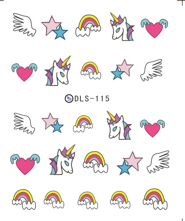 Water Transfer Foils Nail Art Sticker Colorful Wing Unicorn Horse Harajuku Water Decals Manicure Little Element Stickers(China (Mainland))