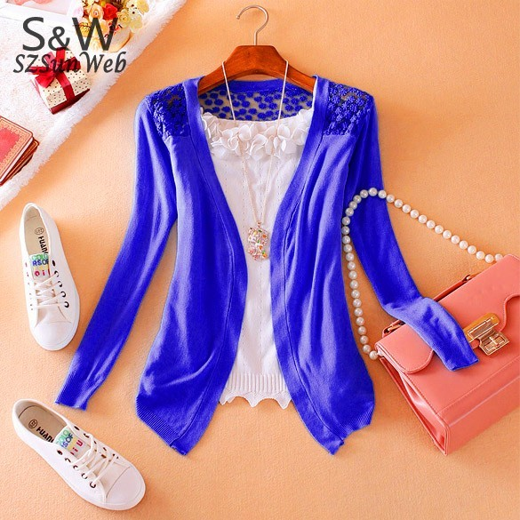 Free Shipping 8 Candy Color Women's Fashion Lace long sleeve hollow out cardigan bottoming shirt lady's sweater/knitwe