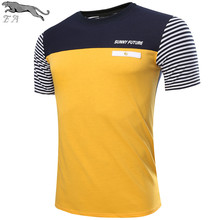 EA brand Hot Sale 2016 Designer Quick Drying Casual stripe Splice T-Shirts Slim Fit Sport Shirt dry fit men fitness Tops&Tees