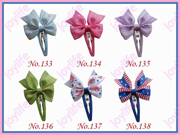 free shipping 300ps mix color 2.75'' new fashion Boutique hair bows with snap clips baby hair clips hair accessories(China (Mainland))