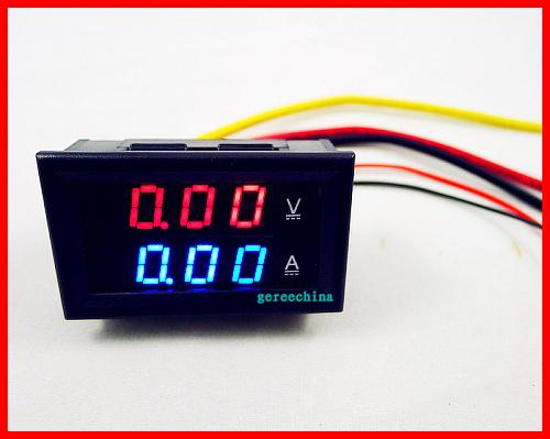 10pcs/lot, 2in1 DC 0-100V/5A Red+Blue LED Volt Amp Monitor Meter Voltmeter Ammeter yb27va Digital Voltage Current Meter for DIY