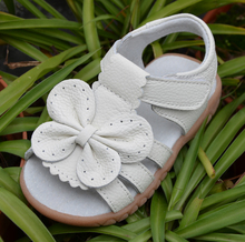 2016 new genuine leather girls sandals white summer walker shoes with butterfly antislip sole kids toddler 12.3-18.3 insole