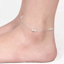 bracelet leg silver plated Foot jewelry 3 beads Ankle link Chain on foot barefoot sandals Beach Anklets for women JL037R