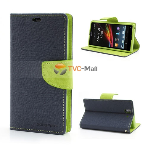 Blue Mercury Fancy Diary Wallet Leather Flip Card Slot Cover Case Sony Xperia Z L36h C6603 C6602 - Yuanwang digital accessories store