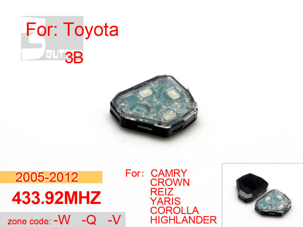 Toyota camry key replacement, car key 2005-2012 433.92MHZ 3 button W-Q-V for toyota crown,car alarm,free shipping(China (Mainland))