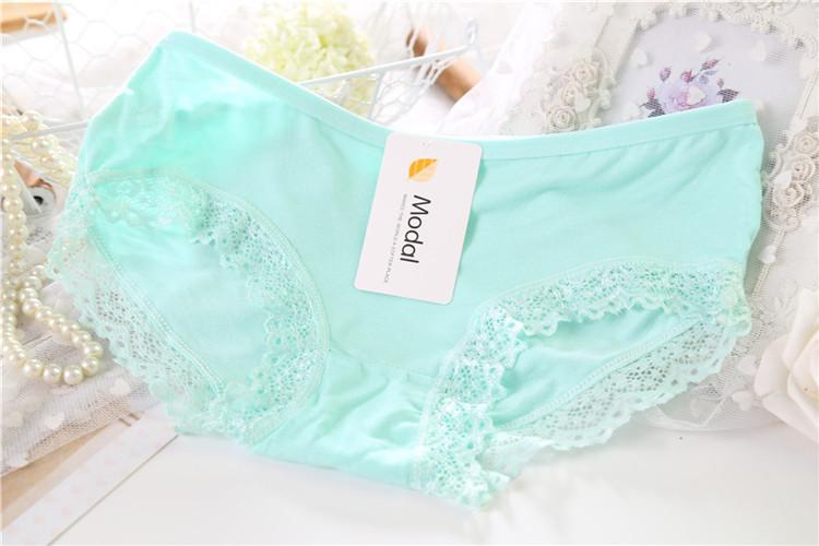 Kissney Modal Lace Underwear Solid 13 Candy Colors Sexy Seamless Women Panty Women Briefs K056