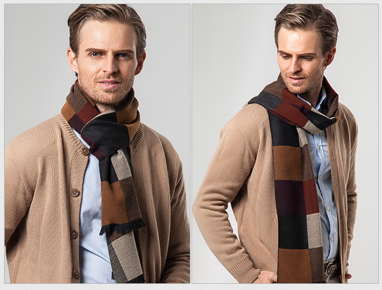Autumn and winter new business casual plaid scarf Fashion gift men 's scarf Spell color men scarves