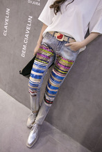 2016 New Europe Sequins Casual Fashion Jeans Worn Tide sequins hole out fashion patchwork colorful women jeans(China (Mainland))