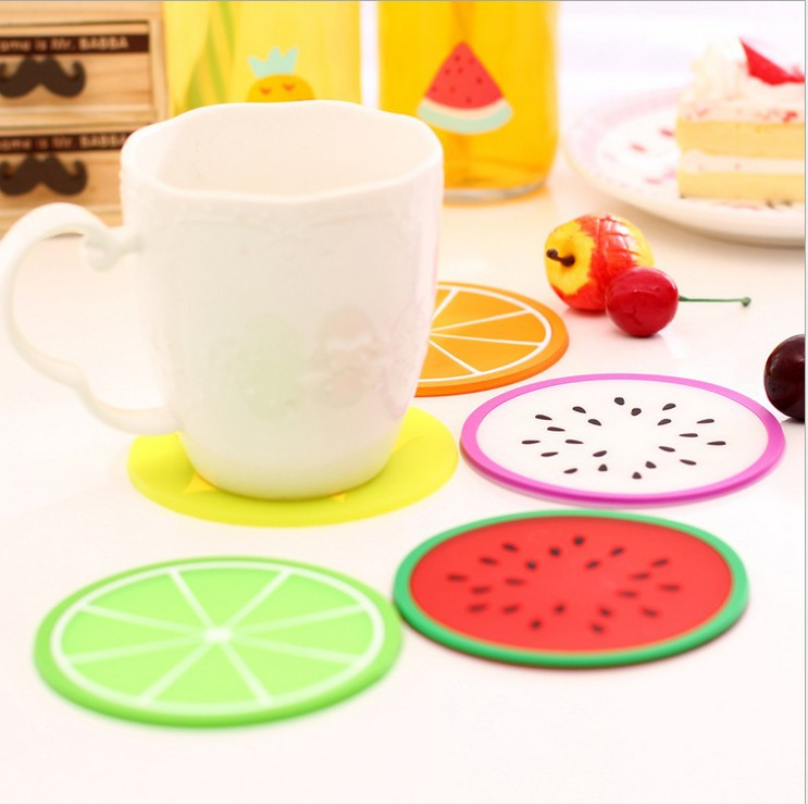 1 PCS Round Six Fruit Patterns Jelly Colors Silicone Tea Cup Pad Bottle Mat Antiskid Kitchen Table Decoration Accessories(China (Mainland))