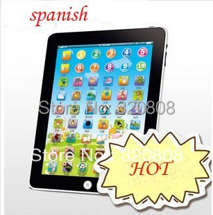 New Arrial Y Pad Spanish Language Learning Machine For Kids Touch Computer Tablet Funny Pad Spanish Educational Toys(China (Mainland))