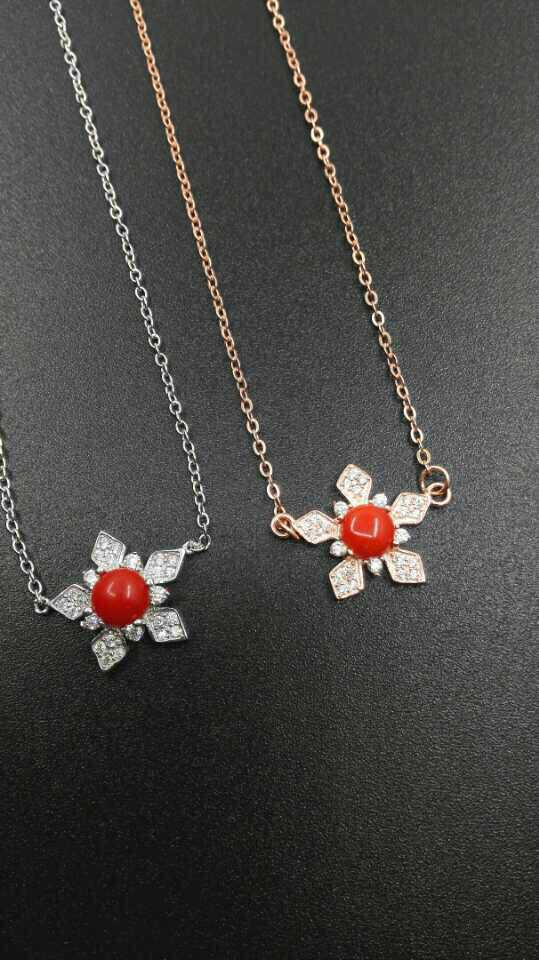 Fashion stars shape red natural coral pendant necklace 925 sterling silver natural gem stone necklace for women wedding jewelry(China (Mainland))