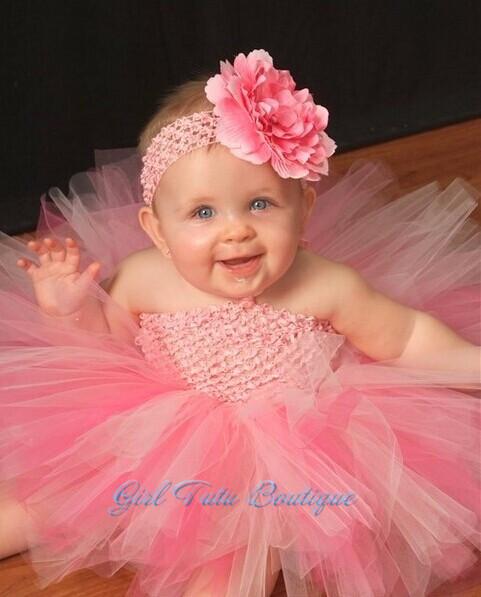 2015 New Infant Baby Flower Tutu Dress Big Floral Headband Toddler Girl Wedding Party Tutu Dresses NB to 2T(China (Mainland))