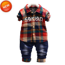 New Coming Red And Green Baby Outfit font b Plaid b font Tops Jeans 2pcs Per