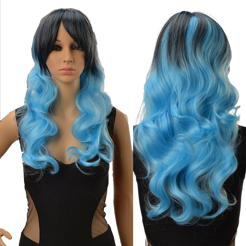 Wholesale Sexy Lady Anime Cosplay Party Body Wavy Kinky Curly Hair Black Blue Mix Lolita Wig African Peluca Rizado Cabello<br><br>Aliexpress
