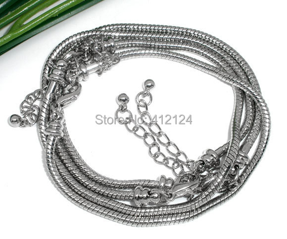 Silver Tone Charm Bracelets Snake Chain 100Pcs/lot Lobster Clasp Fit European Beads 19cm Womens Jewelry<br><br>Aliexpress