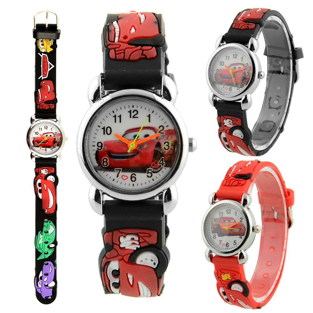 Cute Cartoon Car Analog Quartz Child Kids Wrist Watch Red Band Strap Christmas Birthday Gift Brand