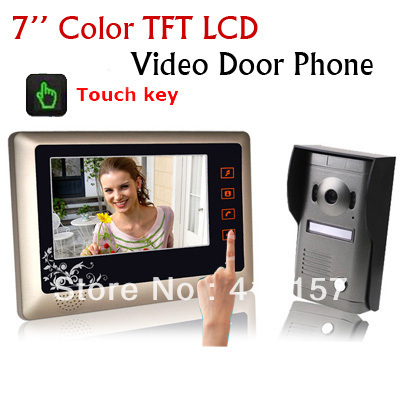 "Home Security 7"" Extra Slim LCD Touch key Monitor Color Camera Kit Video Door Bell Phone Intercom System Multy Melody free ship"