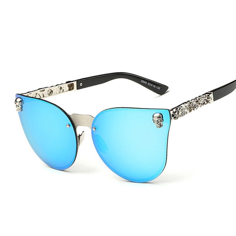 2016 Fashion Women Gothic Sunglasses Men Skull Frame Metal Temple Sunglasses Oculos de sol UV400 6 Colors(China (Mainland))