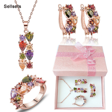 Free Shipping Ring Size 6-9 Rose Gold Plated Multicolor Zircon Necklace Earring Set Cubic Zirconia Diamond Women Jewelry Sets(China (Mainland))