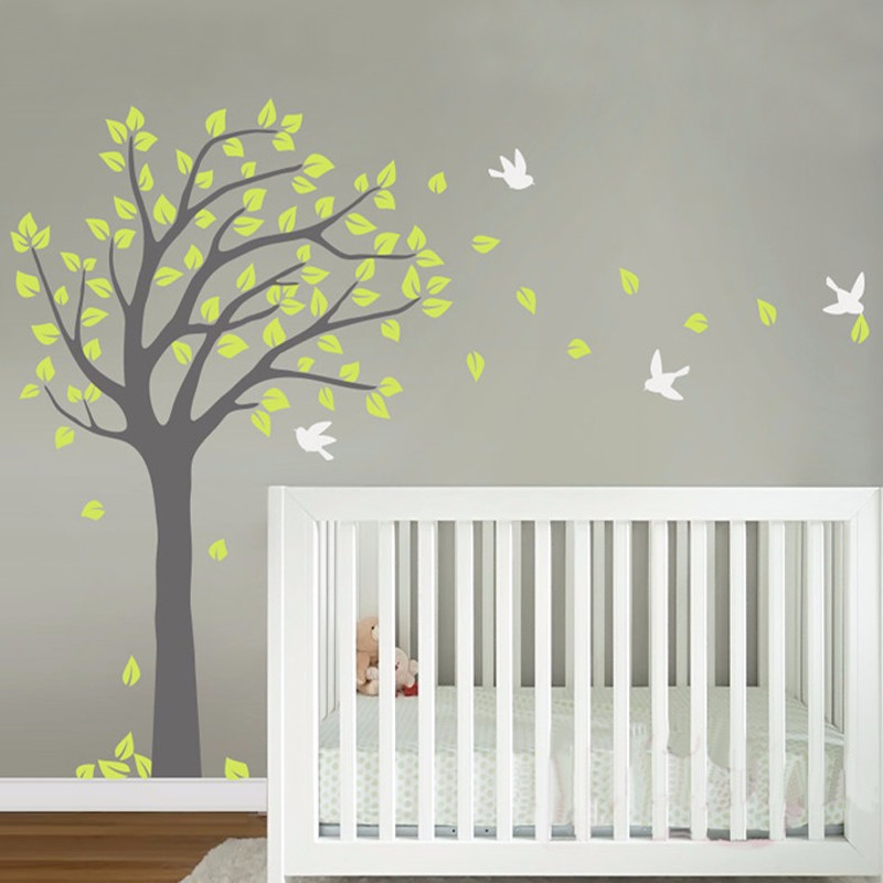 Large Tree Vinyl Nursery Tree Wall Sticker Mural Adhesive Decoration Maison Wall Decals Wall Stickers for Kids Rooms Home Decor(China (Mainland))