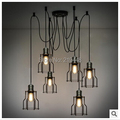 Small Iron Frame Pendant Light 6 Lamps 10 Lamps American Village Industries Retro Creative Personality Restaurant